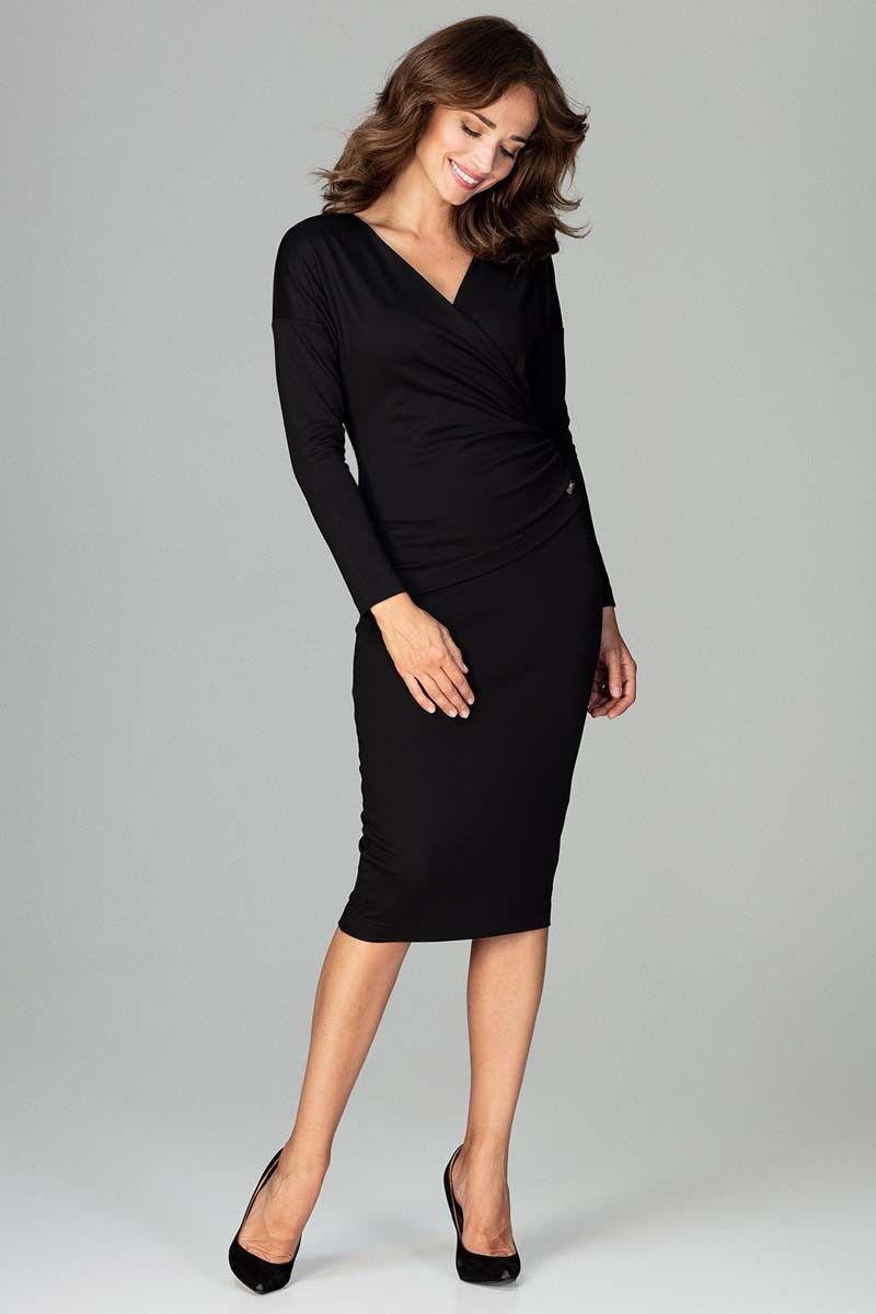 Czarna stylowa sukienka z kopertowym dekoltem