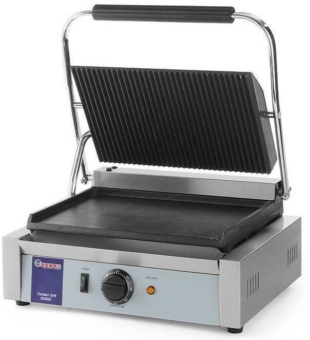 Hendi Grill kontaktowy żeliwny pojedyńczy ryflowany/gładki 340x230mm 2200W - kod 263662
