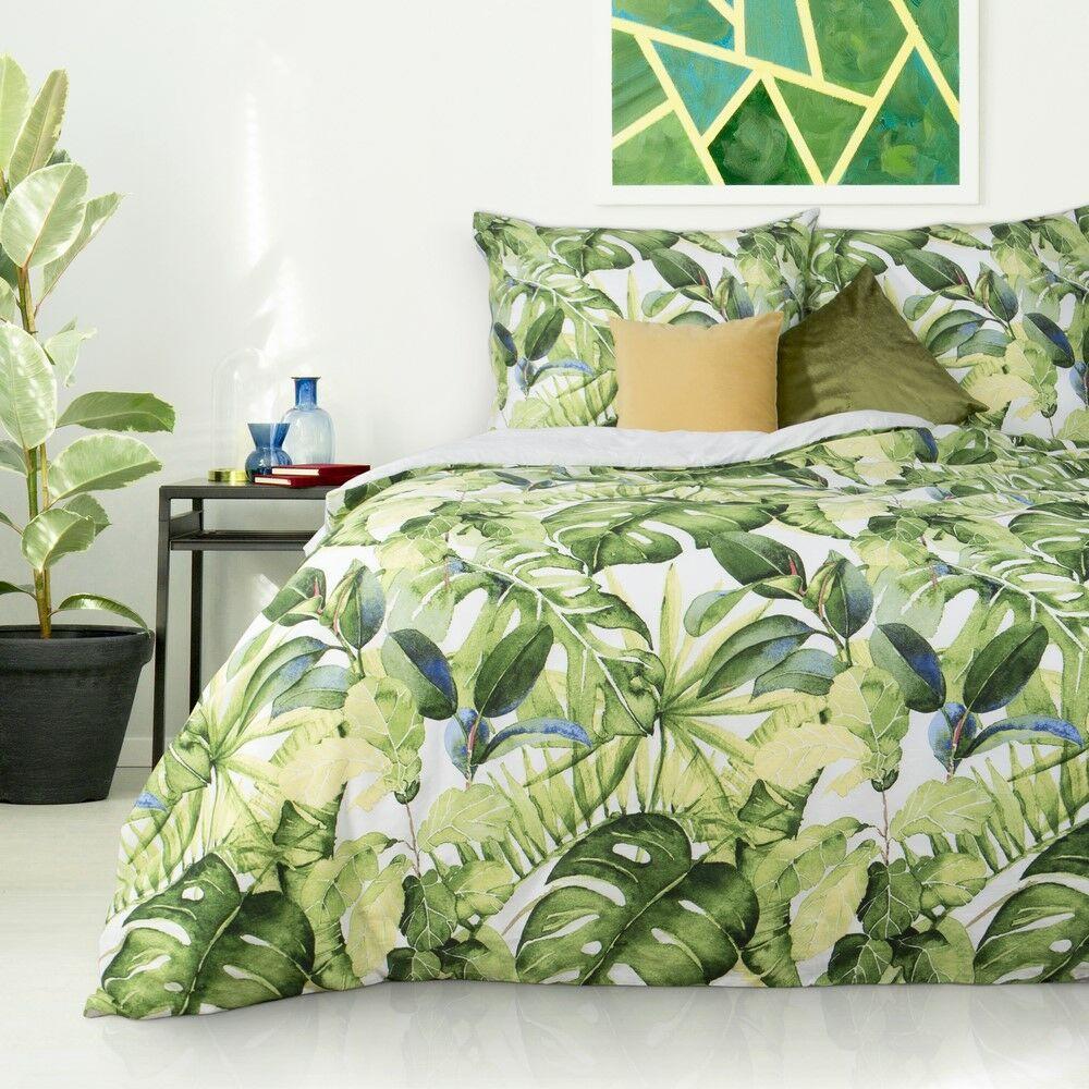Pościel satynowa 160x200 liście palmy monstery biała zielona niebieska egzotyczna roślinna w pudełku Monstera Nova Print Gift Eurofirany