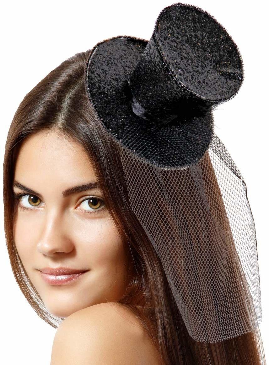 Tiara opaska na głowę z górną czapką brokat czarny, mała górna czapka na plastikowej opasce na głowę jeden rozmiar