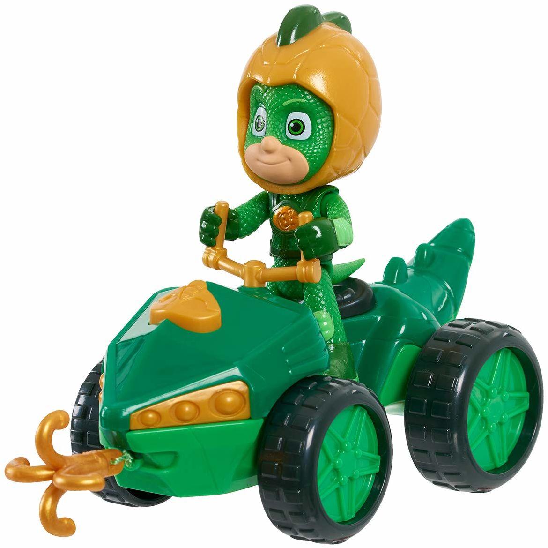 Simba 109402422 - PJ Masks Quad Gekon / z figurą superbohaterów / ze zintegrowaną wciągarką linową / zielona ze złotymi akcentami / figurka 8 cm wielkości, dla dzieci od 3 lat