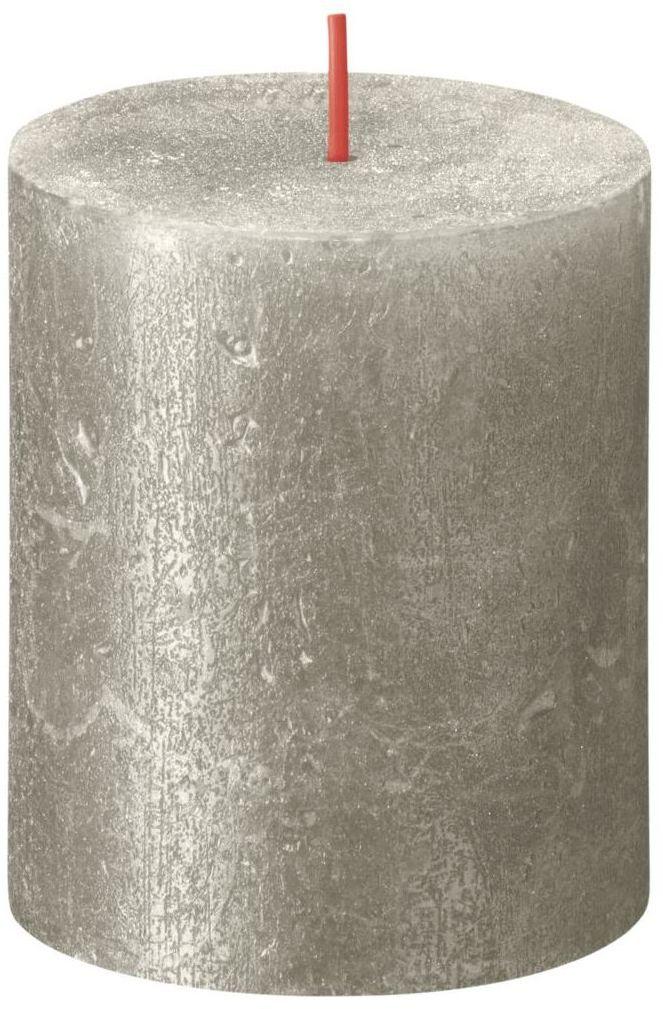 Świeca pieńkowa Rustic Shimmer szampańska srebrna wys. 8 cm Bolsius