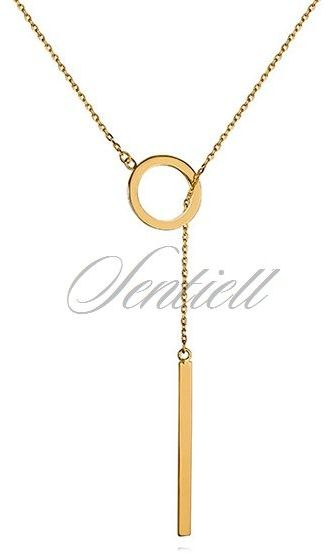 Srebrny naszyjnik krawatka pr.925 z kółeczkiem i prostokątną zawieszką - pozłacany - żółte złoto