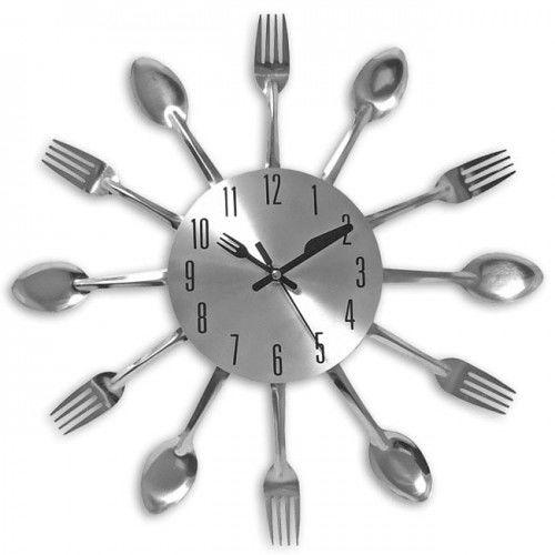Zegar kwarcowy ścienny stalowy sztucce