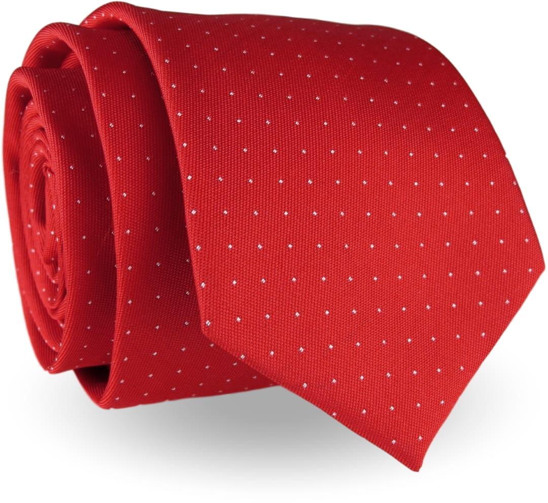 Elegancki Krawat Męski Modny klasyczny szeroki czerwony w kropki G237