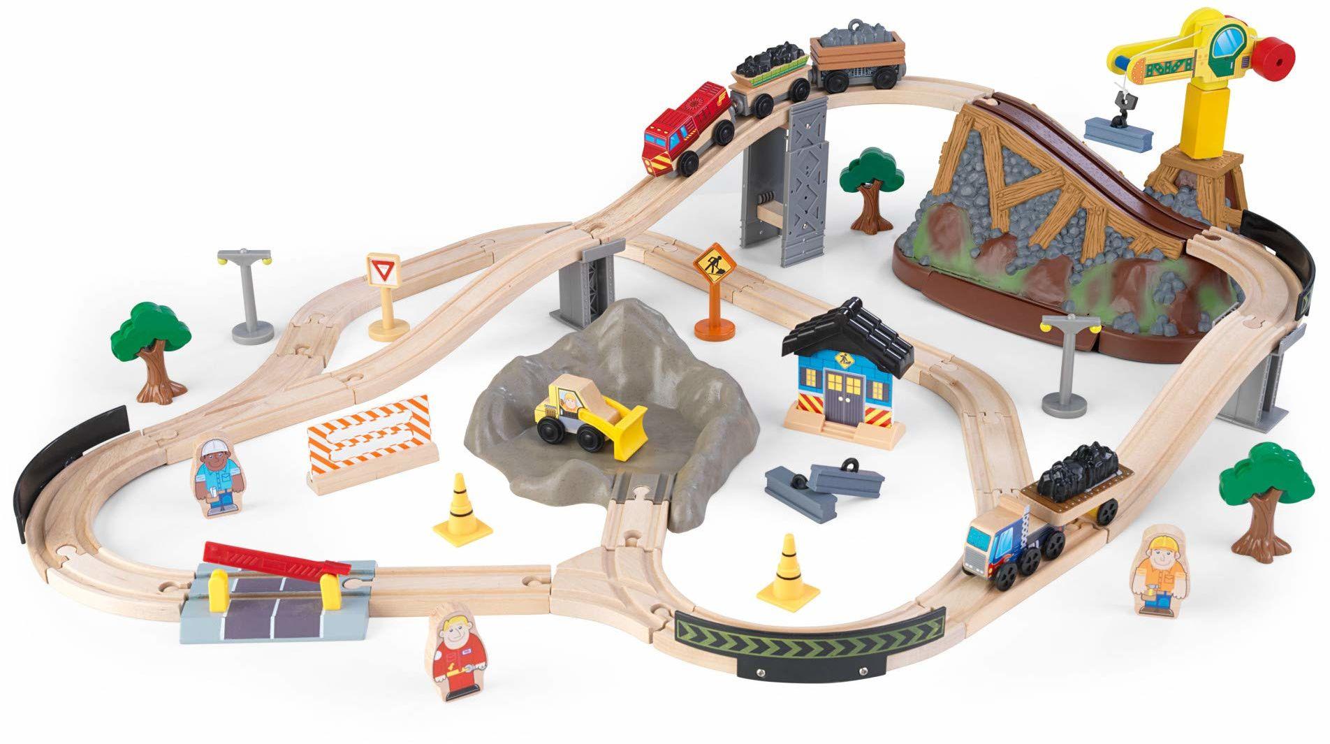 KidKraft 17805 zestaw kolejowy plac budowy z pudełkiem do przechowywania Bucket Top drewniany kolejka, wielokolorowy