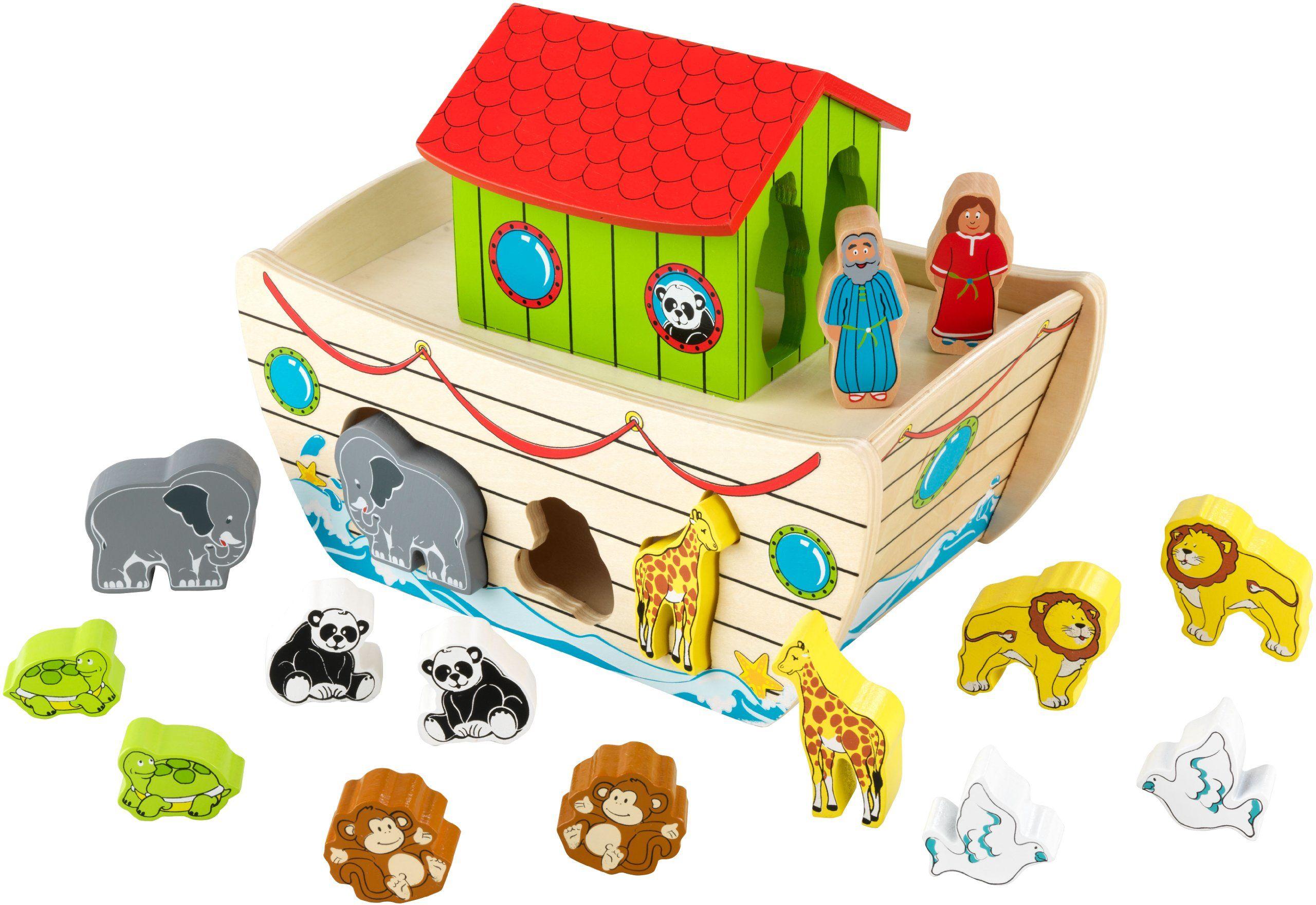 KidKraft 63244 Łuk Noah''s Ark drewniany kształt i blok Sorter ze zwierzętami - zabawka do wczesnej nauki dla dzieci i dzieci