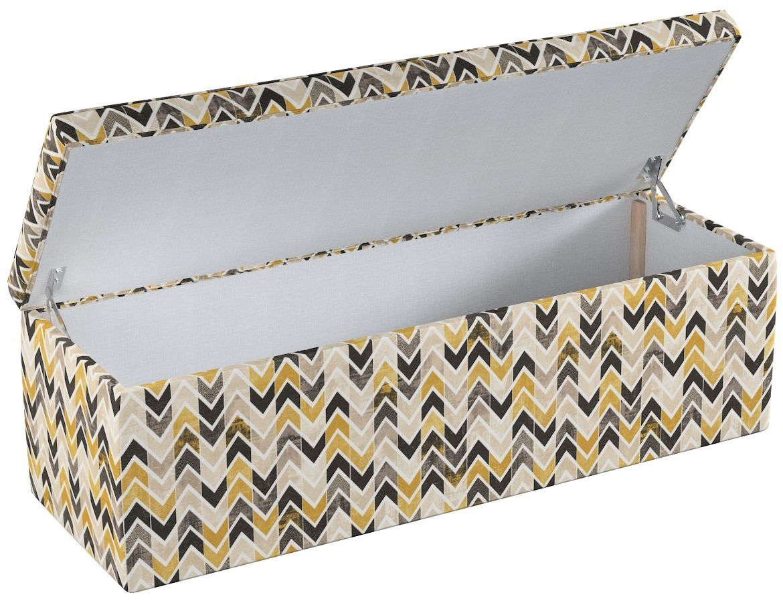 Skrzynia tapicerowana, musztardowo- czarno- beżowe zygzaki na jasnym tle, 90  40  40 cm, Modern