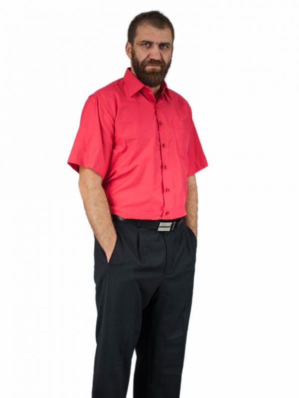 Elegancka koszula męska z krótkim rękawem czerwona