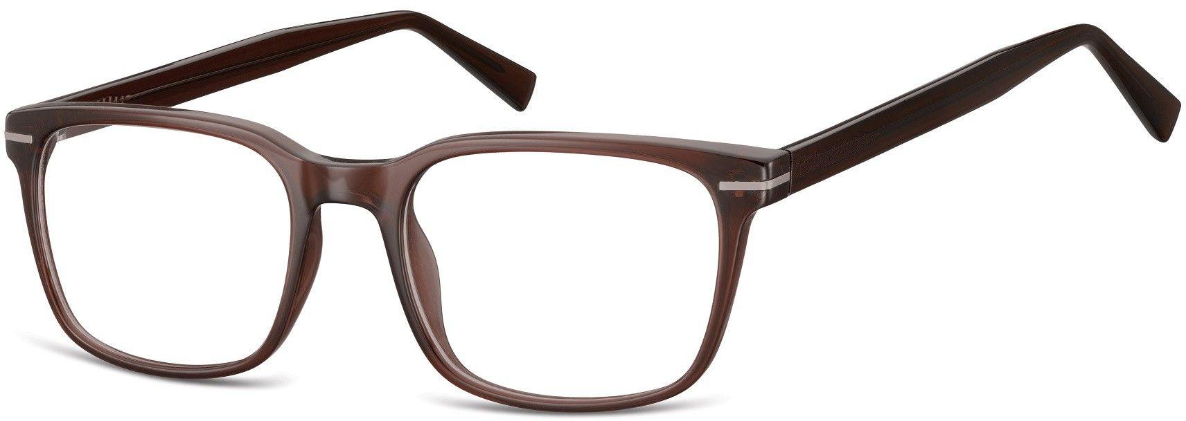 Okulary oprawki korekcyjne Nerdy zerówki Sunoptic CP119D brązowe transparentne