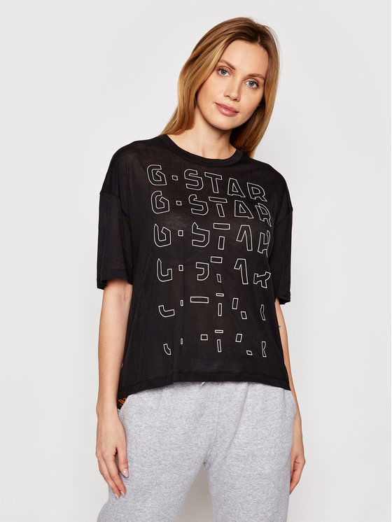 G-Star Raw T-Shirt Sheer Faded Graphic D19200-9908-6484 Czarny Relaxed Fit