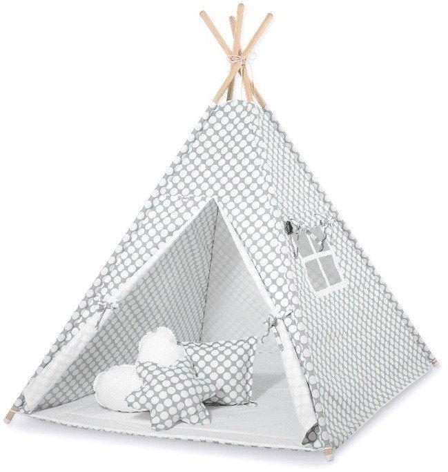 Szary w kropki namiot dziecięcy 770TI-Bobono, Tipi dla dzieci
