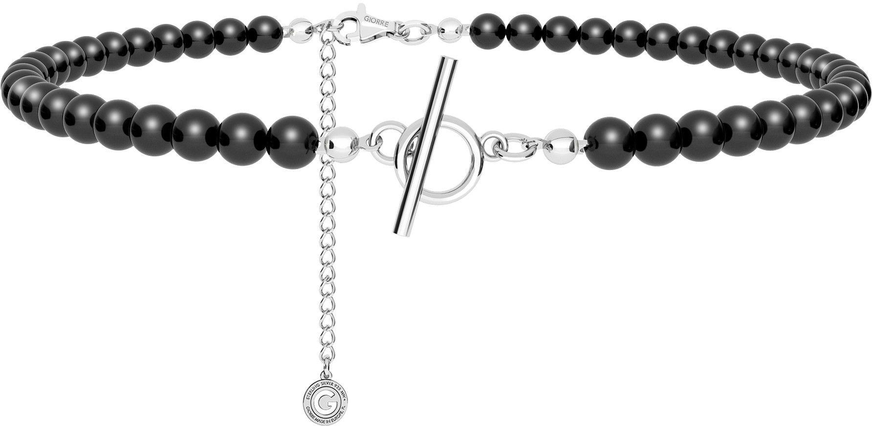 Srebrny choker z czarnych pereł, do podwieszania charmsów, srebro 925 : Srebro - kolor pokrycia - Pokrycie platyną