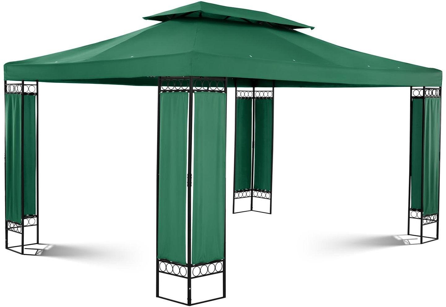 Pawilon ogrodowy - prostokątny - ciemnozielony - Uniprodo - UNI_PERGOLA_3X4GF - 3 lata gwarancji/wysyłka w 24h