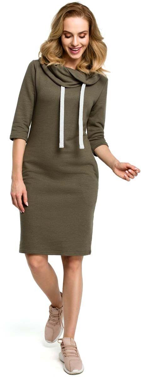 Khaki sportowa sukienka z wywijanym kołnierzem z troczkami