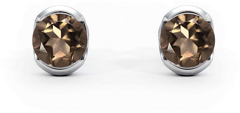 Kuźnia Srebra - Kolczyki srebrne sztyft, 6mm, Kwarc Dymny, 1g, model