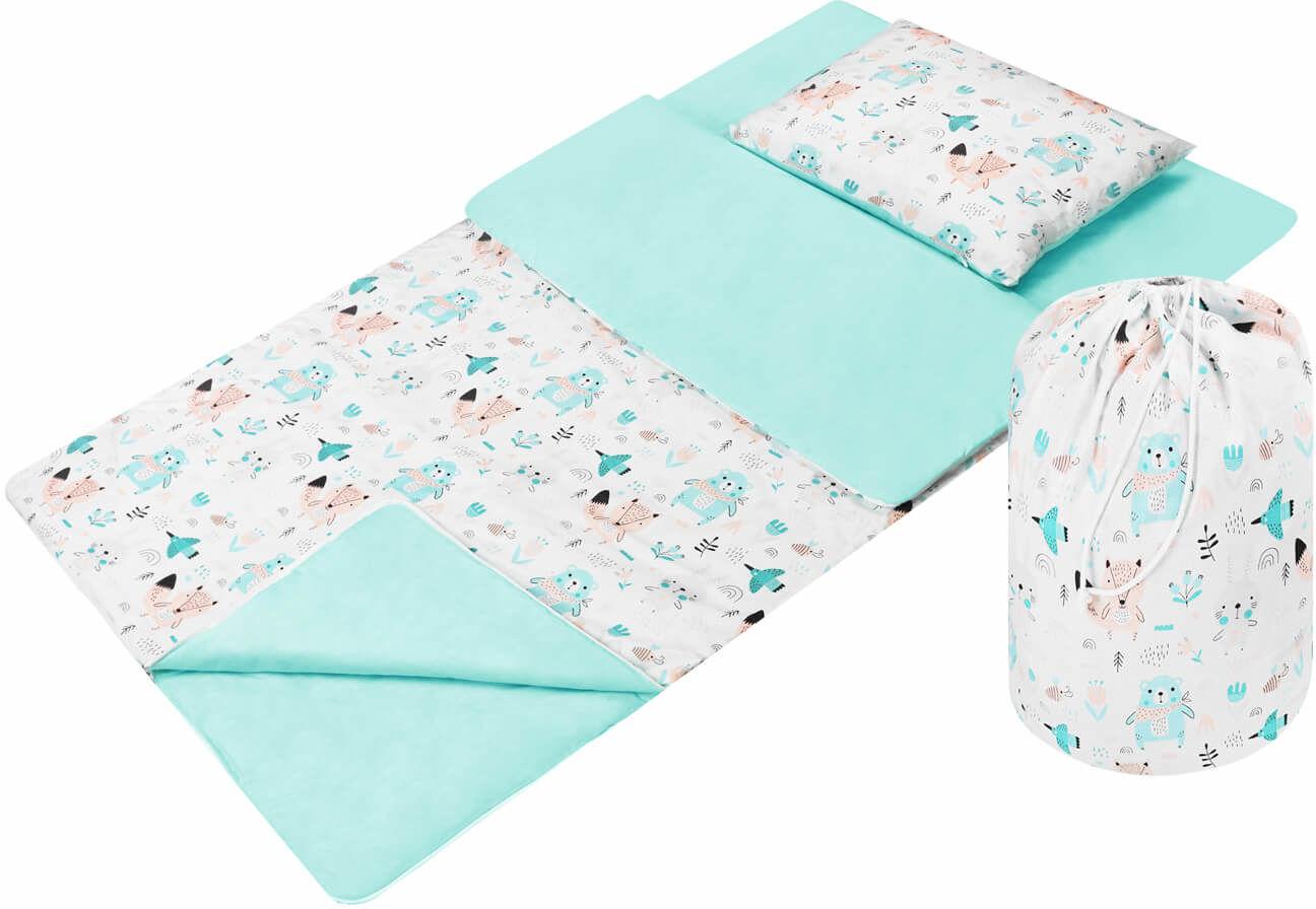 Śpiwór dla dzieci do spania łąka mięta - Bawełna
