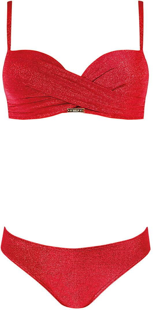 Kostium kąpielowy damski dwuczęściowy push-up SELF S730RS czerwony