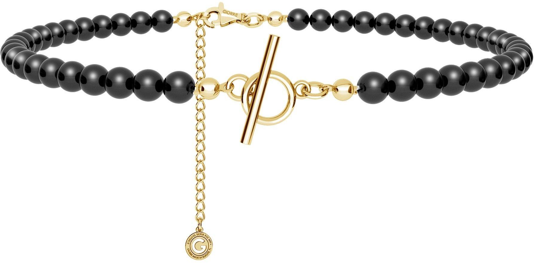 Srebrny choker z czarnych pereł, do podwieszania charmsów, srebro 925 : Srebro - kolor pokrycia - Pokrycie żółtym 18K złotem