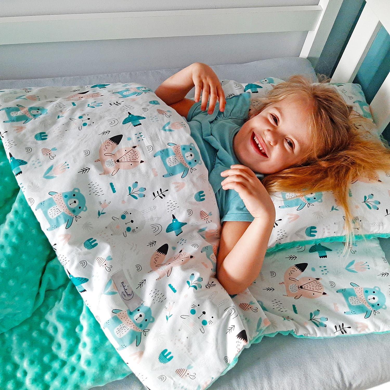 Śpiwór dla dzieci do spania Łąka - mięta minky