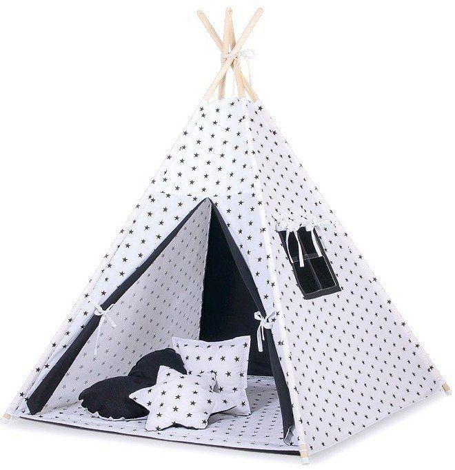 Biały z czarnymi gwiazdami namiot dziecięcy 759TI-Bobono, Tipi dla dzieci