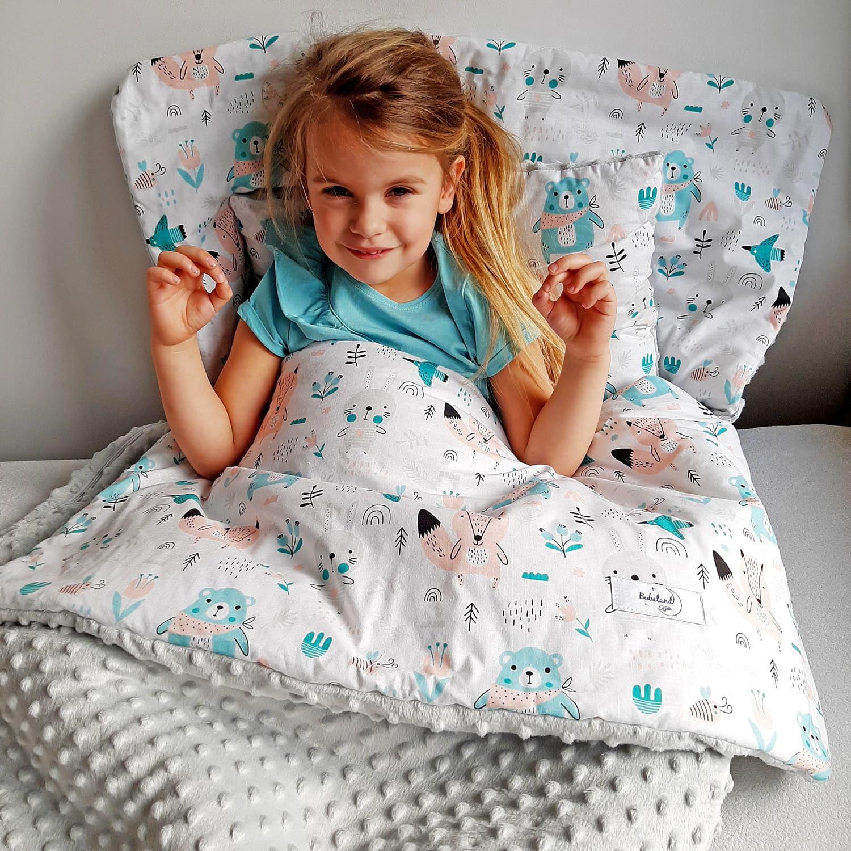 Śpiwór dla dzieci do spania Łąka - popiel minky