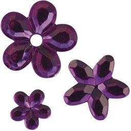 Rayher 1522739 akrylowe kwiaty stras, kolor fioletowy, trzy rozmiary 5, 8, 10 mm ø, 310 sztuk, kamienie stras, kamienie ozdobne do naklejania, błyszczące kamienie