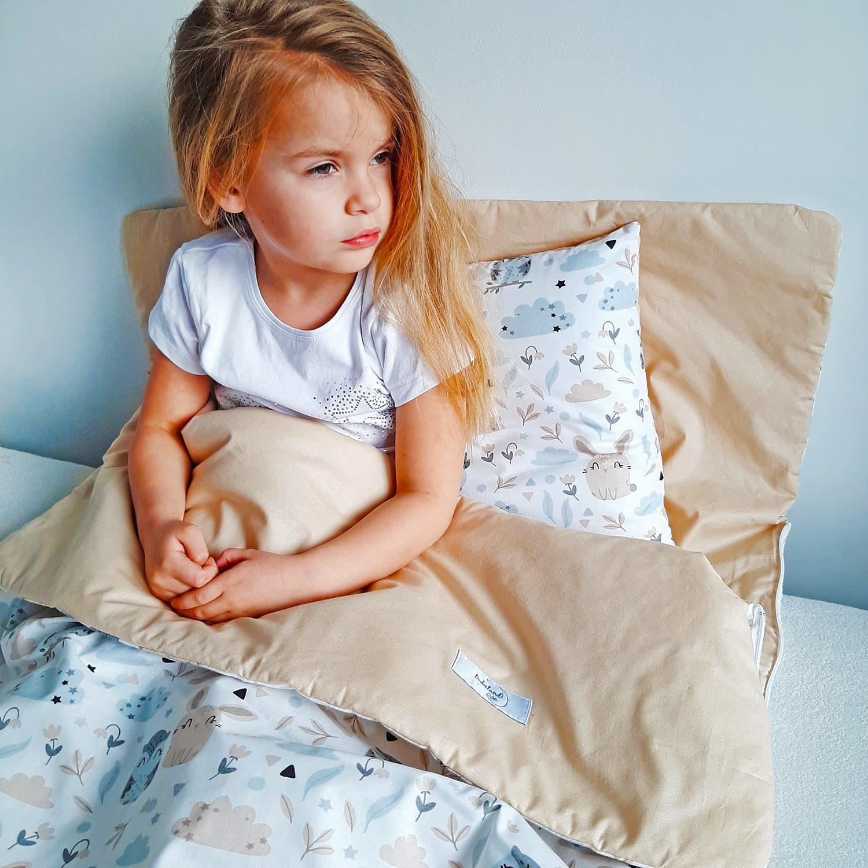 Śpiwór dla dzieci do spania sówki beż - Bawełna