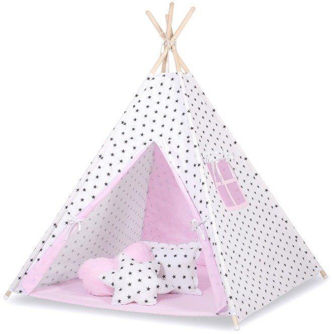 Różowe królestwo z gwiazdami namiot dziecięcy 758TI-Bobono, Tipi dla dzieci