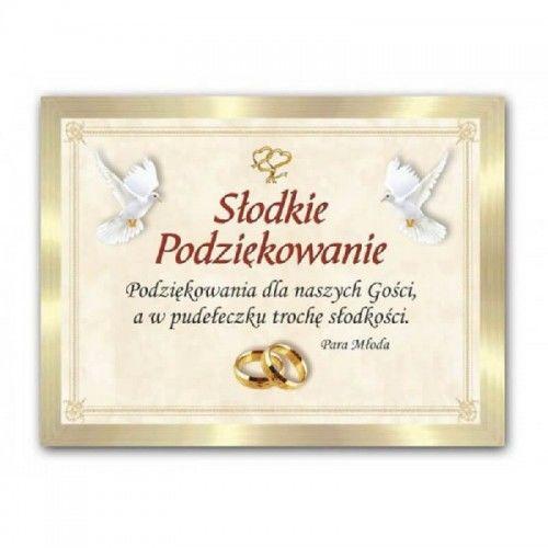 Etykieta na ciasto weselne, podziękowanie dla gości Gołębie i Serca, 25 szt.