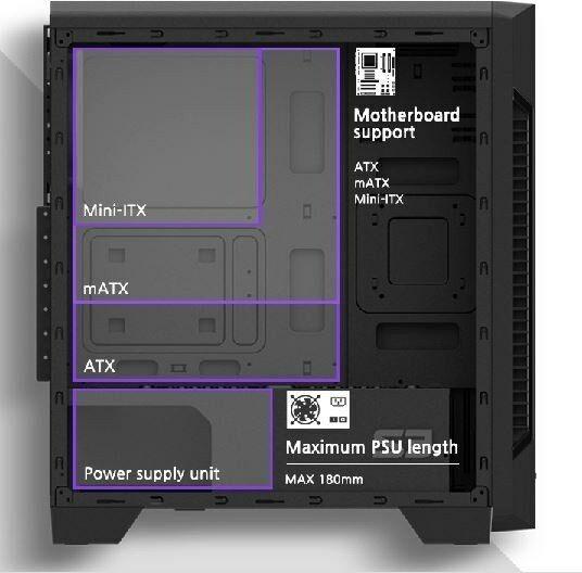 Zalman Obudowa S3 ATX Mid Tower PC Case 120mm fan