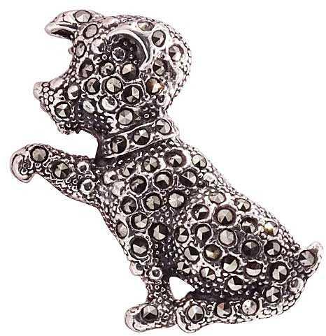 FIGA; Srebrna broszka z markazytami, pies