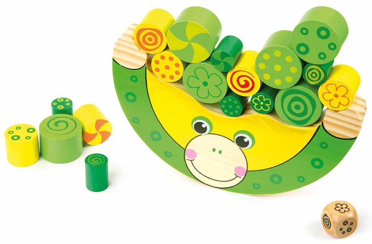 Żaba balansująca z naturalnego drewna, 100% certyfikowana przez FSC . Zabawka motoryczna w zestawie kostka, dla dzieci od 3 lat.