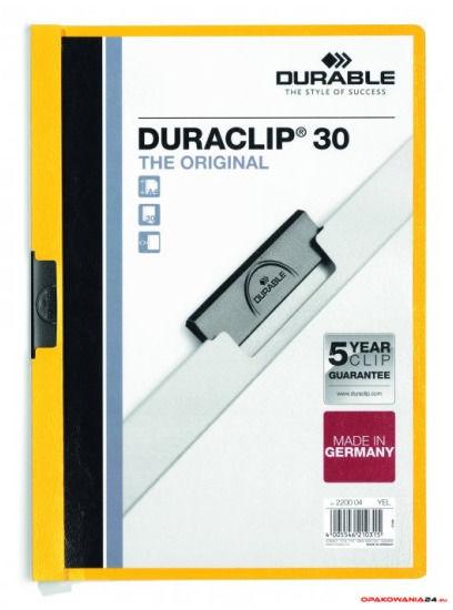 Skoroszyt DURABLE DURACLIP Original 30 żółty 2200-04
