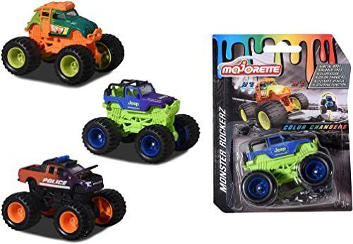 Majorette 212057257 Monster Rockerz Color Changers, 3 różne modele, dostawa 1 ciężarówka z magicznym lakierowaniem zmieniającym kolory, gumowe opony, dla dzieci od 3 lat, wielokolorowa