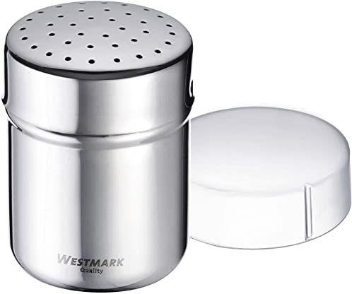 Westmark Shaker do przypraw, Z pokrywką utrzymującą świeżość, Pojemność: ok. 80 - 100 g, Tworzywo sztuczne/Stal nierdzewna, Fein, Srebrny/Przezroczysty, 69542260
