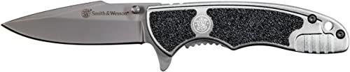 Smith & Wesson, Scyzoryk, Framelock, ostrze: 7 cm, Drop Point, G10, czarny, składany nóż, rozszerzony tang, szpilka na kciuk, klips kieszonkowy