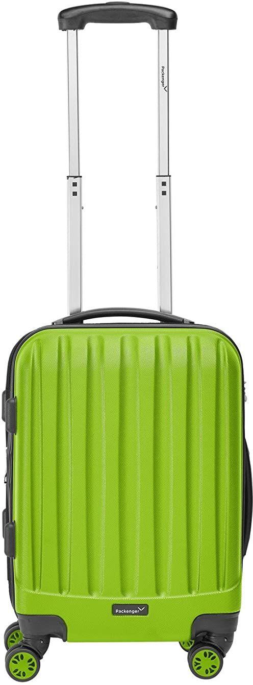 Packenger Walizka  Velvet  różne kolory i rozmiary (M, L, XL), 4 kółka, walizka z zamkiem TSA i przegrodą rozszerzającą, twarda walizka, jasnozielony (zielony) - 101/20-003P-01