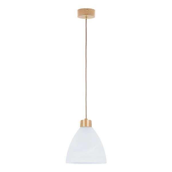 Lampa wisząca zwis drewniana EVO drewno/biały śr. 23cm
