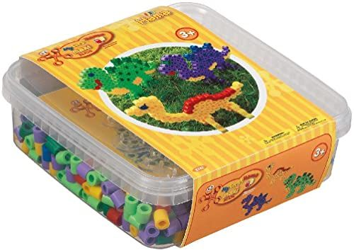 Hama Perlen 8742 pudełko z dinozaurami z ok. 600 kolorowymi koralikami maksi o średnicy 10 mm, przezroczysty blat na długopisy, w zestawie papier do prasowania, kreatywna zabawa dla dużych i małych