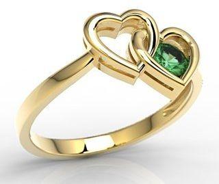 Pierścionek w kształcie dwóch serc z żółtego złota ze szmaragdem lp-52z - żółte szmaragd