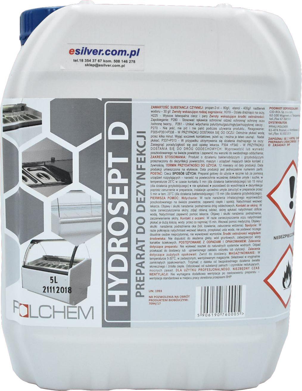 Preparat do dezynfekcji powierzchni bez spłukiwania Hydrosept 5l Środek do dezynfekcji kuchni, gastronomii