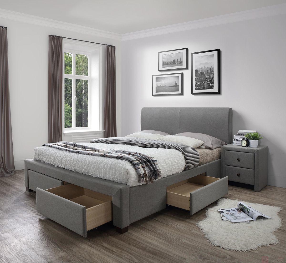 KUPON 10% NA STRONIE  Łóżko MODENA Halmar 180x200 cm, Szary