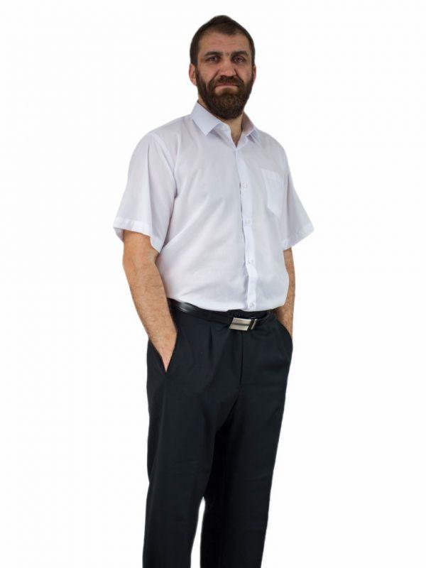Elegancka, wizytowa koszula męska BIAŁA z krótkim rękawem Laviino