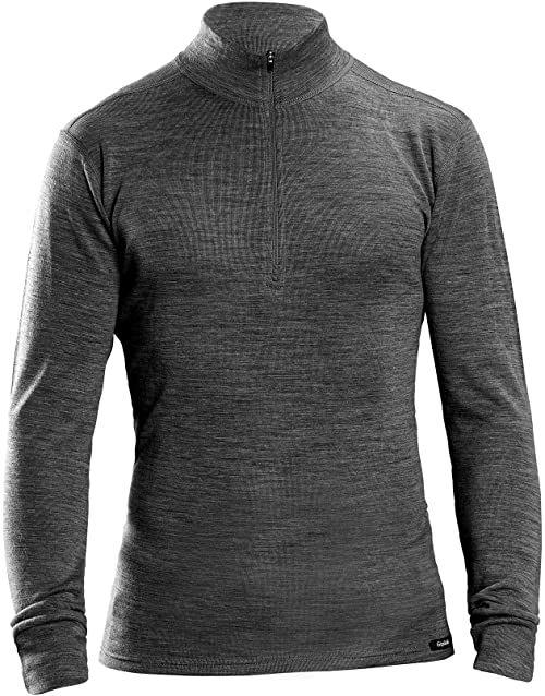 GripGrab Uniseks  wełna z merynosów dla dorosłych z bambusa, zamek błyskawiczny, termiczna koszulka z długim rękawem, koszulka funkcyjna, podkoszulek bielizna, czarna, XXL