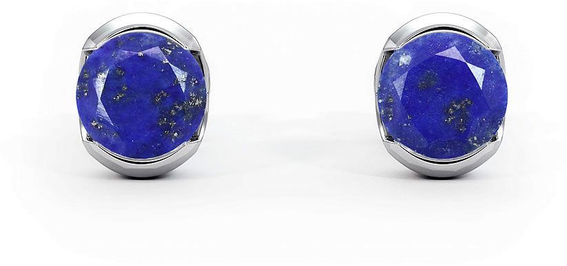 Kuźnia Srebra - Kolczyki srebrne sztyft, 6mm, Lapis Lazuli, 1g, model