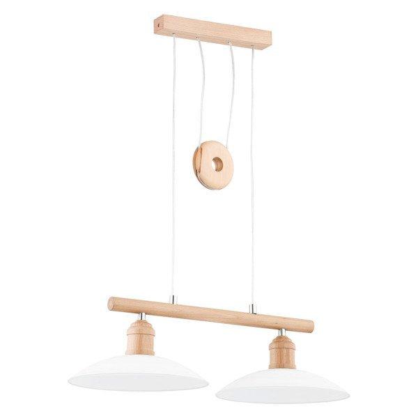 Lampa wisząca listwa drewniana KONAR drewno/biały szer. 65cm