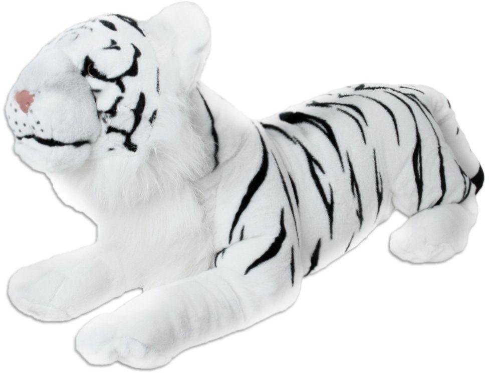 TE-Trend Tygrys pluszowy dzikie zwierzę leżące pluszowe zwierzę dżungla step duży kot tygrys 100 cm biały wąski
