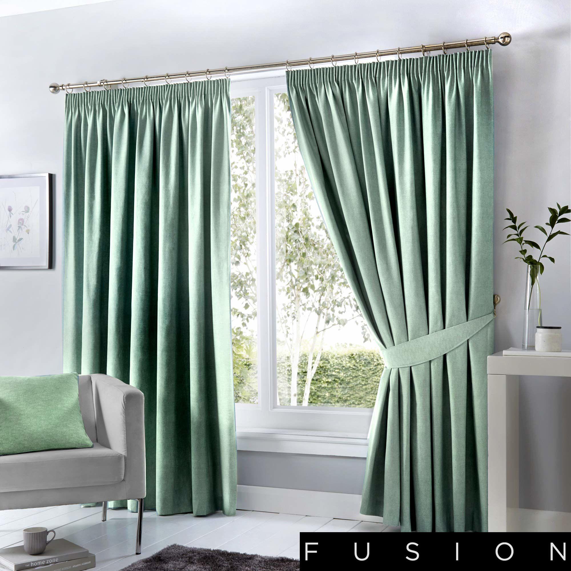 Fusion poduszka, zaciemnienie / izolacja cieplna, duck egg, Curtains: 117 x 183 cm