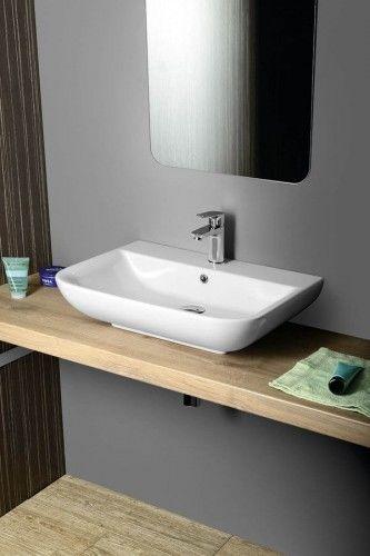 Umywalka nablatowa/wisząca 60x48 cm ceramiczna biała DORI